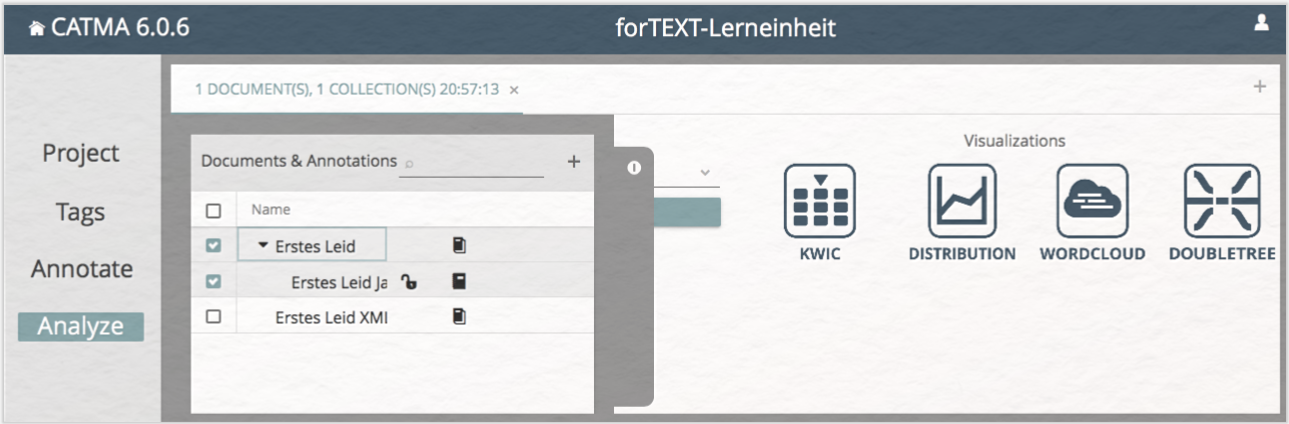 Lerneinheit Analyze und Visualisierung mit CATMA select document and annotation collections