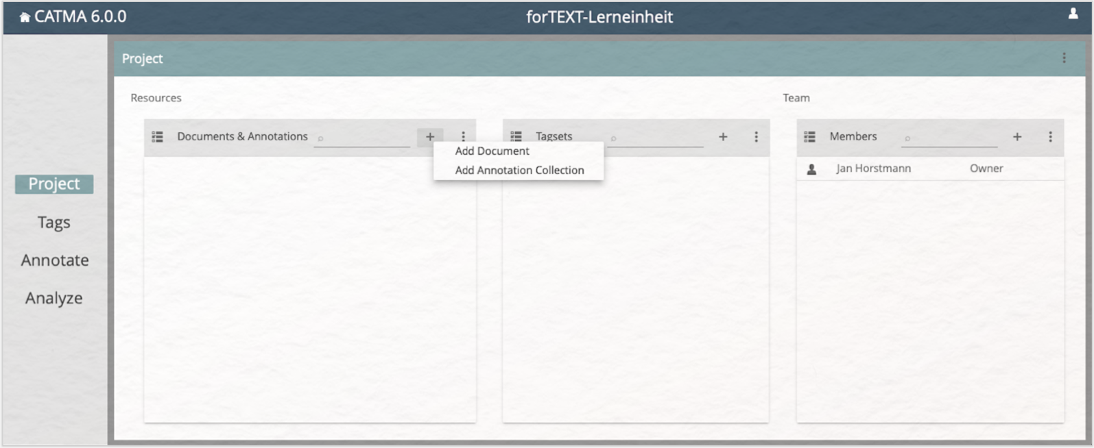 Lerneinheit Manuelle Annotation mit CATMA Project Module and Add Document