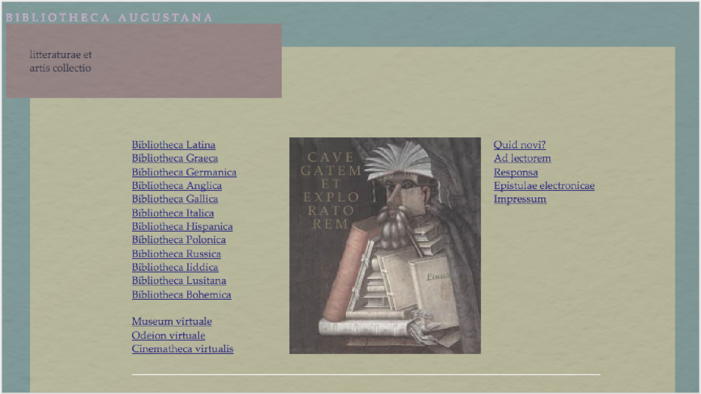 Bibliotheca Augustana: Interface