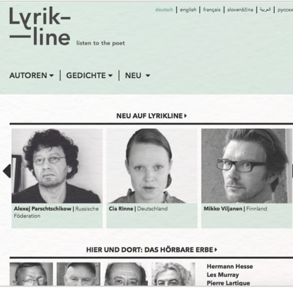Lyrikline listen to the poet Startseite